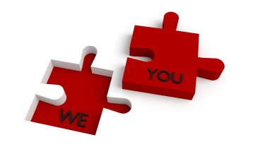Missing puzzle piece, we and you, red